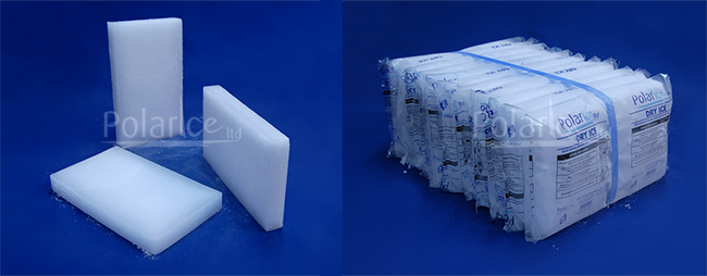 Images of unwrapped dry ice slices and a 10kg unit of wrapped slices.