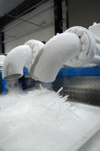 Image of dry ice pellets being manufactured.