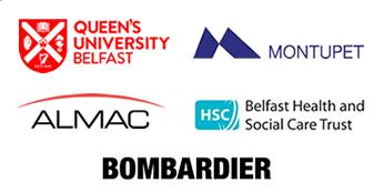 Customer Logos: Queen's University Belfast, Montupet, Almac,  HSC, Bombardier.