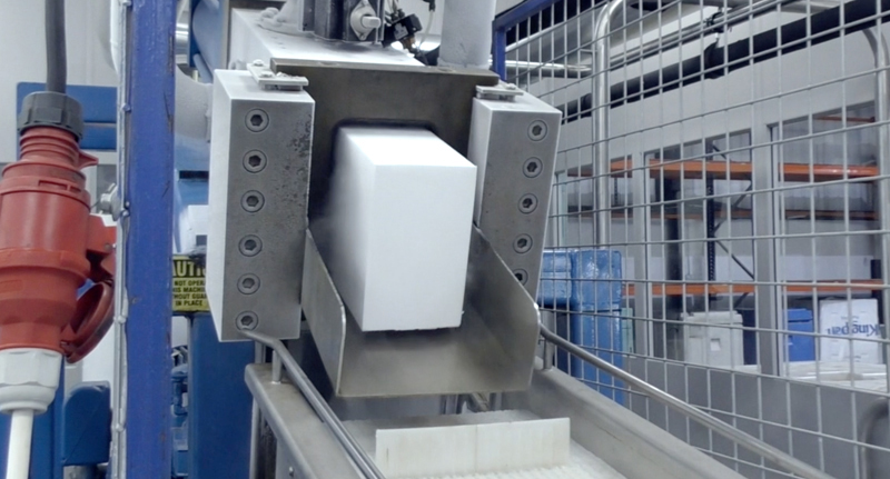 Polar Ice Block Press producing 10kg dry ice block